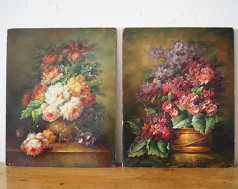 A Pair of Vintage Still Life Oil Paintings