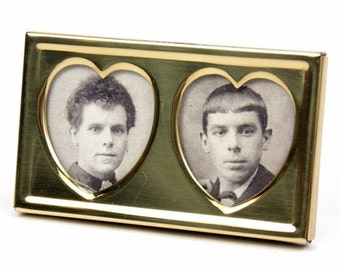 Vintage Brass Gold Toned Photo Picture Frame with Twin Heart Apertures