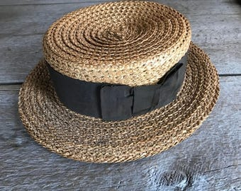 Amazing Edwardian Straw Boater Hat, Black Ribbon Bow, Antique