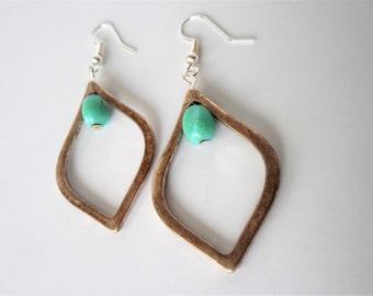 Turquoise Teardrop Earrings, Turquoise Earrings, Teardrop Earrings, Upcycle, Teal, Aged Metal, Metal Teardrop, Boho, Bohemian, Boho Style