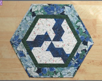 Quilted Holiday Table Topper Blue Poinsettia 530