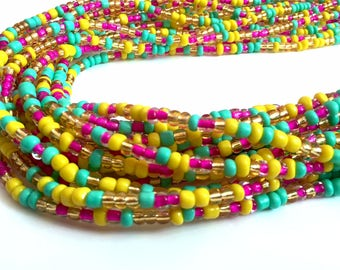 """Hot Pink, Yellow & Turquoise Handmade African Waist Bead (up to 55"""") *per one strand*"""