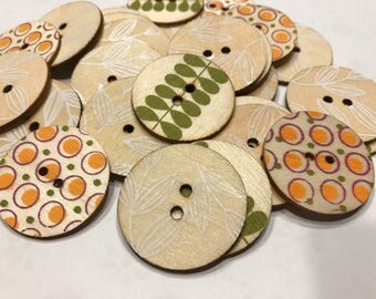 6 piece large assorted wood button mix, 35 mm (22)