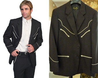 NWT Scully P-656 men's black Western style Rockabilly suit jacket / coat. White piping.  42 Reg. Discontinued line now very hard to find