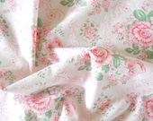 vintage floral fabric pink roses fabric pink fabric patchwork fabric quilting fabric antique pink roses french fabric 200