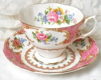 Lady Carlyle tea cup vintage teacup teacups english teacup pink vintage teacup English floral teacup Royal Albert 942