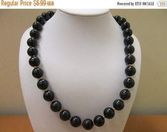On Sale Retro Black Plastic and Gold Tone Beaded Necklace Item K # 711