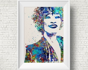 Whitney Houston Watercolor Print Wall Hanging Giclee Wall Print Home Decor Walldecor Whitney Houston Poster Modern Wall Artwork Music Poster