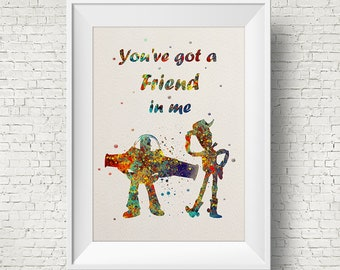 Toy Story Quote Buzz and Woody Watercolor Print  Home Decor Wall Art Wall Hanging Birthday Gift Print Nursery Children's Wall Art