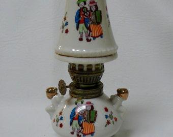 Vintage Miniature Porcelain Kerosene Lamp Ceramic Folk Art Musician White Wick w/ Matching White Porcilain Hurricane Lamp Made in Japan