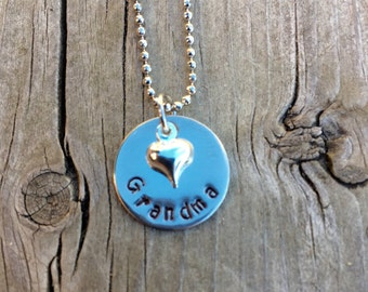 Hand Stamped Grandma Nana Heart Necklace