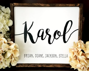 Family Name Sign Wood White Walnut Last NameWhite Distressed wood Large Typography Hand Lettering  Framed Signs Black and White Clean Simple