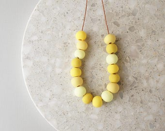 Beaded Necklace in Shades of Yellow - Handmade Polymer Clay Beads - Limited Edition - Adjustable