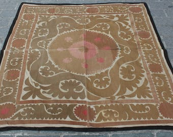 4.95' x 5.05' Suzani Vintage Suzani Old Embroidery Suzani Wall Hanging Uzbek Suzani Table Cover Ethnic Suzani FAST SHIPMENT with ups - 10976