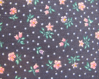 1980's Blue Calico, Calico, Ditsy, Blue, Pink, Purple, Floral, Flower, Fabric Piece, Cotton, Decorator Weight, 1980's, 1990's