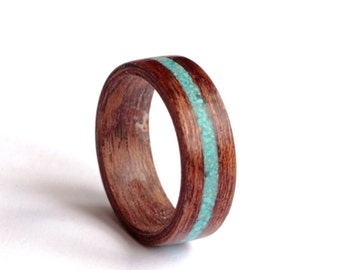 Men's  Ring, Wood Ring With Turquoise Inlay, Mahogany Wood Wedding Band