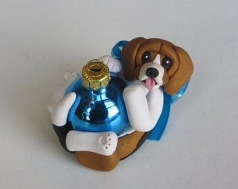 Beagle dog Christmas Ornament Figurine Polymer Clay