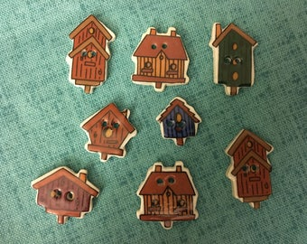 BUTTONS - 1990s Vintage New Hand-made Ceramic Birdhouses Buttons (set of 8)