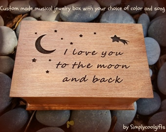music box, custom made music box, musical jewelry box, birthday gift, jewelry box, wooden music box, I love you to the moon and back