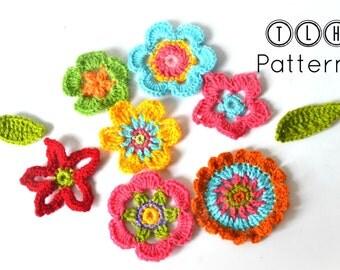 Crochet flower pattern, crochet applique, flowers and leaves crochet pattern, applique flowers, 7 flowers and 2 leaves, pattern no. 61