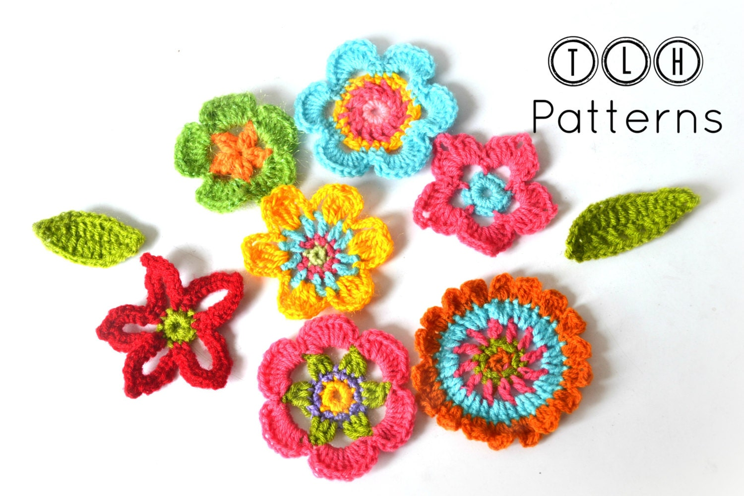 Crochet flower pattern crochet applique flowers and leaves this is a digital file bankloansurffo Images