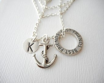 Anchor, Best Friends -Initial Necklace/ Friend Necklace, best friend jewelry, friendship necklace, going away gift, personalized