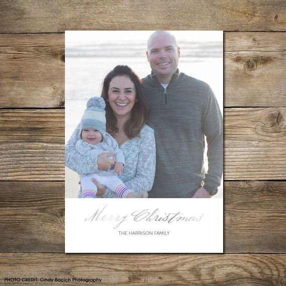 Photo Christmas Card : Faux Gold/Silver Foil Merry Christmas Photo Holiday Card Printable