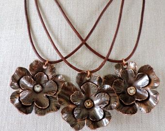 Copper Flower Necklace with Swarovski Crystal - Handmade Copper Jewelry