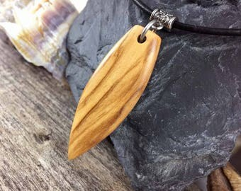 Wood Surfboard Pendant, Mens Leather Necklace With Wood Pendant, Handmade Surfboard Charm Necklace, Mens Surfer Necklace