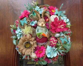 Fuscia and Turq Girl Bunny Wreath