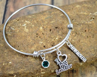 Marines Themed Bangle Bracelet ~ Military Bracelet ~ Swarovski Emerald Birthstone ~ Marines Jewelry ~ I Love My Soldier ~ Support Our Troops