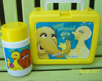 Best Friends! Snuffy & Big Bird Yellow Plastic Lunch with Thermos