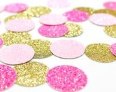 "Light Pink + Neon Pink + Gold Glitter Confetti - 1"" - Wedding. Bachelorette Party. Bridal Shower. Baby Shower. Engagement. First Birthday."