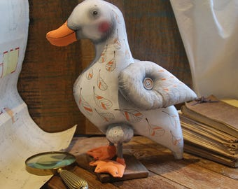 quack duck, painted art doll - soft sculpture