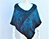 Deep Blue Crochet Felt Poncho Wrap