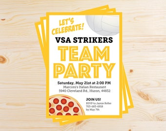 Editable Volleyball Team Pizza Party Invitations - INSTANT DOWNLOAD PRINTABLE - Yellow Gold and Black
