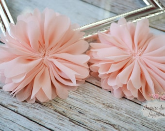 Peach Ballerina chiffon Flowers- Set of 2 DIY fabric flowers, wholesale flowers, chiffon flowers, supply flowers,headband supply