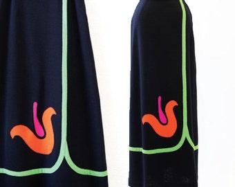 vintage 60s tulip skirt   black neon floral tulip boho hippie party maxi dress skirt M