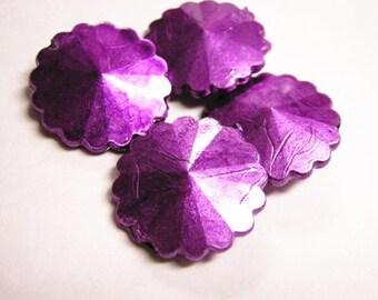6pc purple flat round acrylic beads-3131