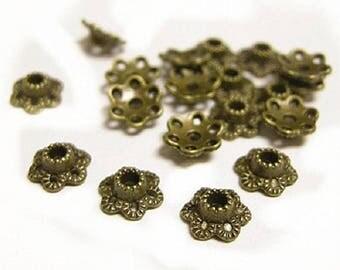 50PC 7mm antique bronze finish metal bead caps-OFF4