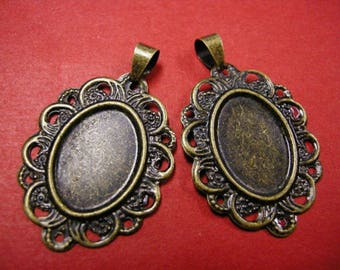 4pc antique bronze cabochon setting-5000