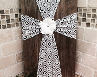 SALE Wall Art - Fabric Cross on Wood Plaque with Flower Embellishment- Black and White