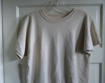 Vintage 70s SHORT SLEEVED CREWNECK Sweatshirt Distressed sz S/M