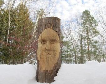 Wood Spirit Hand Carved Mountain Man Garden Gnome Recycled Wood Sculpture Art Sculpture Shelf Decor Deck Decor Wood Anniversary Gift