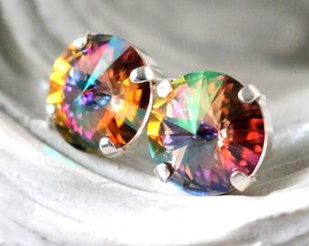 Purple Haze Earrings   Swarovski Crystal Studs   Purple Wedding   Dark Purple Rainbow   Bridesmaid Jewelry   Gift For Her   Silver Earrings