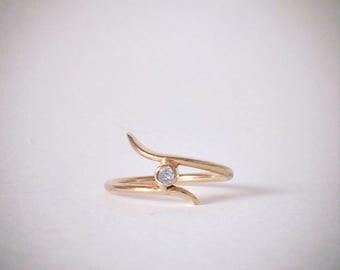 14K Gold Midi Diamond Ring