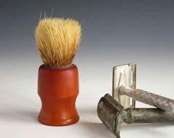 Bakelite Shaving Brush - Bakelite Men's Shaving Accessories - Barber's Bristle Shaving Brush - Vintage Caramel Bakelite Shaving Brush