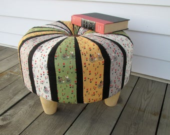 Tuffet, Tuffet Footstool, Bicycle Tuffet, Round Footstool, Child's Stool, Small Stool, Round Ottoman, Handmade Tuffet, Handmade Furniture