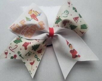 Elf on the Shelf inspired Glitter cheer bow