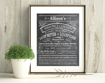 Customize Your Family Recipe - Chalkboard Look Print - Makes a unique gift for anyone - Frame Not Included